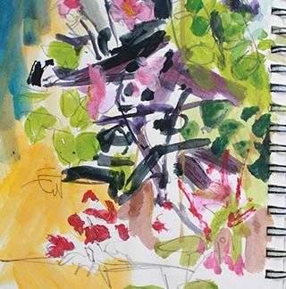 Dahlia Acrylic Sketch